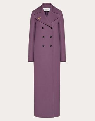 Valentino Vgold Double Wool Coat Women Real Purple Virgin Wool 100% 36