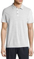 Vince Mix-Stitch Short-Sleeve Polo Shirt, Heathered White
