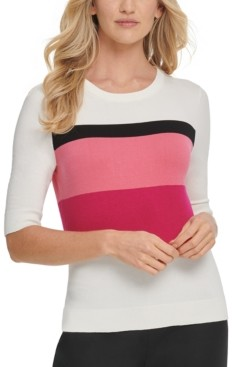 DKNY Colorblocked Elbow-Sleeve Sweater