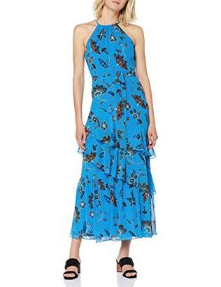 Karen Millen Women's Folk Floral Print Collection Party Dress, (Blue/Multi 08), (Size:)