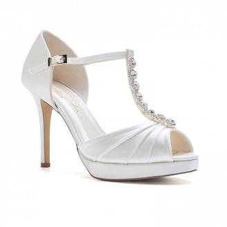 Paradox London Cindy Ivory High Heel T-Bar Platform Sandals