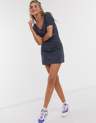 Noisy May jersey dress with puff sleeves and tie front in washed blue