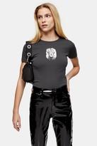 Topshop Womens Charcoal Grey Lion Face T-Shirt - Charcoal