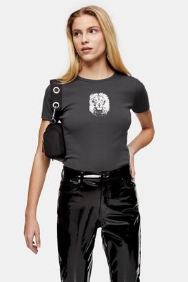 Topshop Charcoal Grey Lion Face T-Shirt