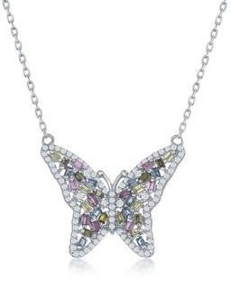 La Preciosa 925 Sterling Silver/14k Rose Gold Plated Multi-Colored Baguette Cubic Zirconia 16+2?? Butterfly Pendant Necklace