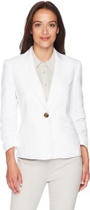 Kasper Women's Petite 1 BTN Linen Notch Collar JKT W/Pockets