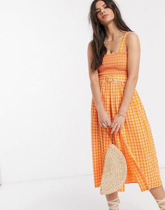 ASOS DESIGN shirred midi sundress with self belt in gingham
