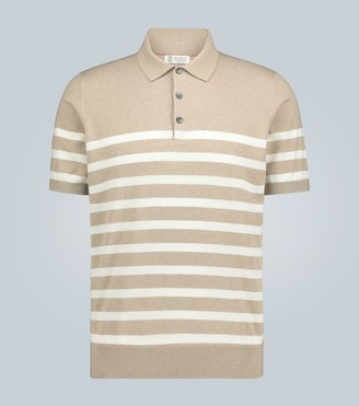 Brunello Cucinelli Striped knitted cotton polo shirt