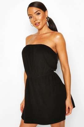 boohoo Towelling Bardot Beach Dress