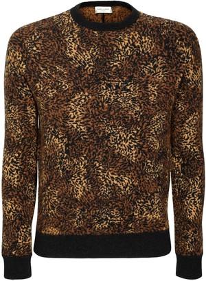 Saint Laurent Leopard Jacquard Alpaca Blend Sweater