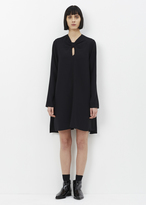 Proenza Schouler black long sleeve knot flared dress