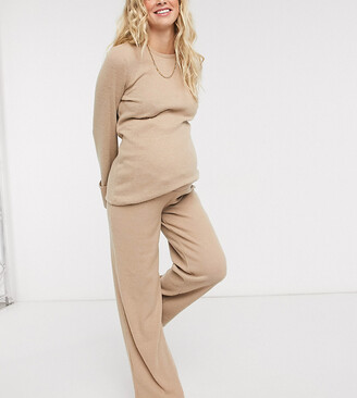Pieces Maternity ribbed wide leg pants co-ord in camel