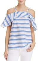 Calvin Klein Stripe Cold Shoulder Ruffle Top