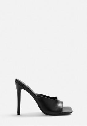 Missguided Lissy Roddy X Black Square Toe Heel Mules