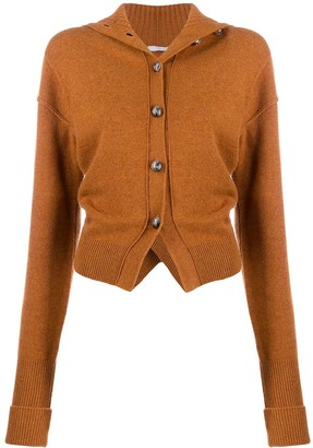Chloé Ruched Turtleneck Cardigan