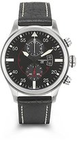 Torgoen Pilot T33 Series T33101 45mm Stainless Steel Case Black Leather Mineral Men's Watch