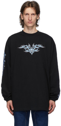 Vetements Black Embroidered Long Sleeve T-Shirt
