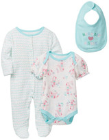Rene Rofe Mermaid Princess Bodysuit, Footie, & Bib Set (Baby Girls)