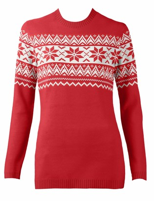 British Christmas Jumpers Women's The Nordic Fairisle Red Eco Christmas Jumper Pullover Sweater M