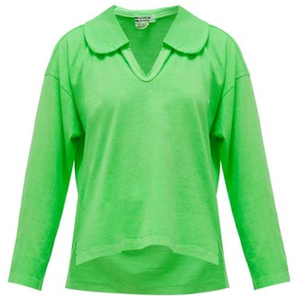 Comme des Garcons Peter Pan-collar Long-sleeved Cotton T-shirt - Womens - Green