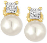 Majorica Gold-Tone Imitation Pearl and Crystal Stud Earrings