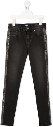 Karl Lagerfeld Paris Sequin-Embroidered Jeans