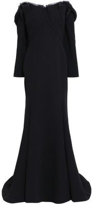 Zac Posen Off-the-shoulder Frayed Silk-crepe Gown