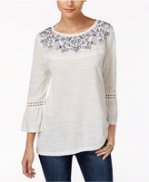 Style&Co. Style & Co Petite Embroidered Bell-Sleeve Top, Only at Macy's