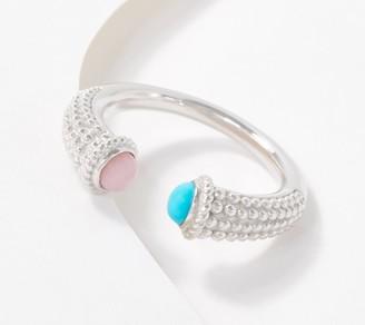 Generation Gems Sterling Silver Gemstone Cabochon Beaded Cuff Ring