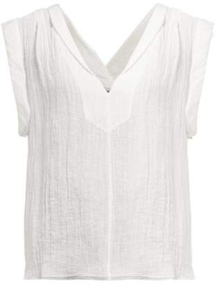 Three Graces London Isoletta Deep V-neck Cotton-blend Top - Womens - White