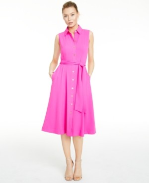Kasper Tie-Waist Shirt Dress