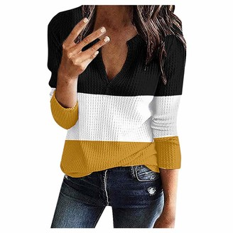 Kolila Women Long Sleeve Tops kolila Womens V Neck Oversize Sweater Long Sleeve Sale Loose Fit Button up Blouses Casual Knitted Jumper Tops Pullovers (001Yellow L)