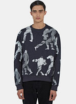 J.w. Anderson Men's Judo Print Crew Neck Sweater In Navy