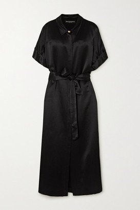 MARTIN MARTIN Constance Belted Satin Maxi Shirt Dress - Black