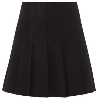 Alessandra Rich Pleated Wool-blend Mini Skirt - Black