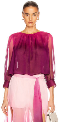 Jonathan Simkhai Ombre Tie Puff Sleeve Top in Magenta Ombre | FWRD