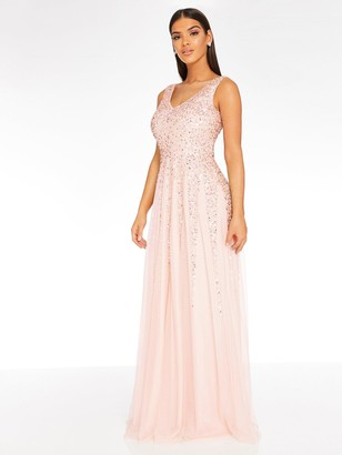 Quiz Sequin Mesh Embellished Sleeveless Maxi Dress - Blush