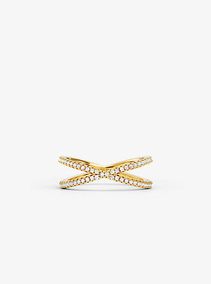 Michael Kors Precious Metal-Plated Sterling Silver Pave Nesting Ring - Gold
