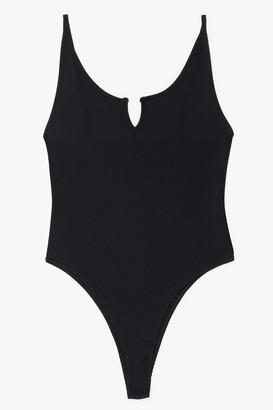 Nasty Gal Womens Notch for Long Plus Scoop Neck Bodysuit - Black - 16, Black