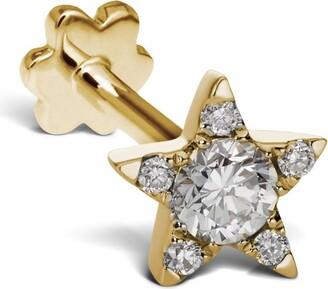 Maria Tash 5.5mm Yellow Gold and Diamond Star Threaded Stud