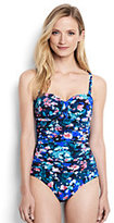 Classic Women's Slender Underwire Bandeau One Piece Swimsuit-Black Artistic Meadow Floral