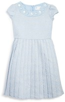 Us Angels Girls' Metallic Jacquard Pleated Dress - Little Kid