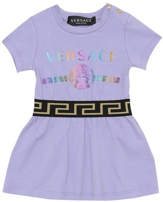 Versace Kids Baby Greca stretch-cotton dress