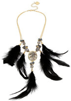 Betsey Johnson Skeletons After Dark Feather Necklace