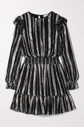 MICHAEL Michael Kors Ruffled Metallic Jacquard Mini Dress - Black