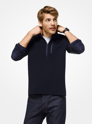 Michael Kors Mixed-Media Quarter-Zip Pullover