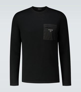 Prada Crewneck sweater with nylon pocket