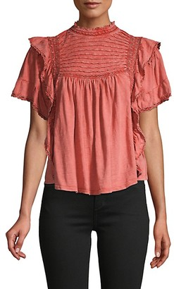 Free People Ruffled Lace-Trimmed Cotton Top