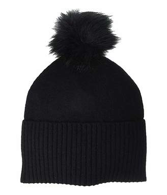 Frye Boiled Beanie with Faux Fur Pom