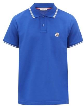 Moncler Tipped-trim Logo-patch Cotton-pique Polo Shirt - Blue
